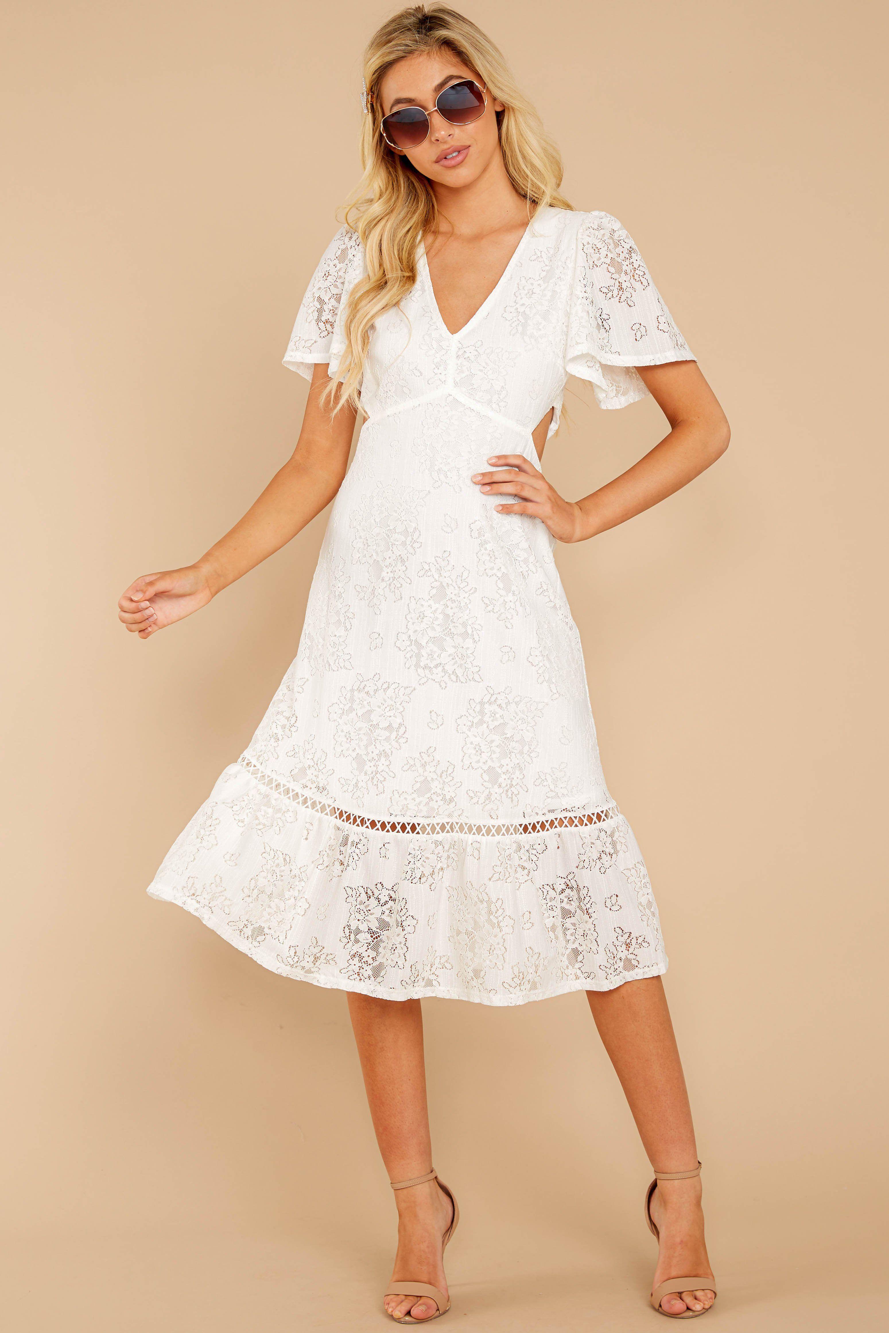 Charming White Lace Midi Short Sleeve Cutout Dress Dress 54 00 Red Dress White Lace Midi Dress Lace Midi Dress White Maxi Dresses [ 4647 x 3098 Pixel ]