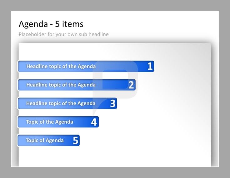 Professional PowerPoint Agenda Template Agenda with 5 items and