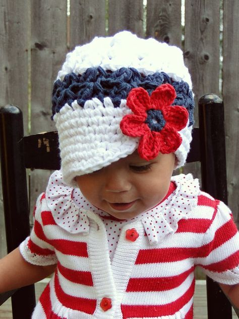 Crochet Baby Hat, kids hat, 4th of July hat, hat for girls, 4th of ...