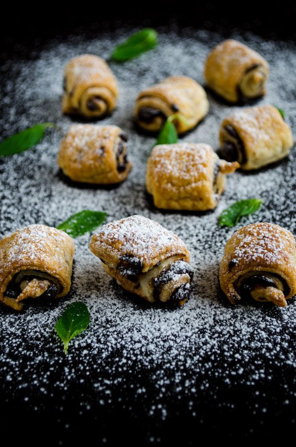 Chocolate Puff Pastry Rolls - 2 ingredients - puff pastry and nutella. Dust with sugar if you like but not necessary.