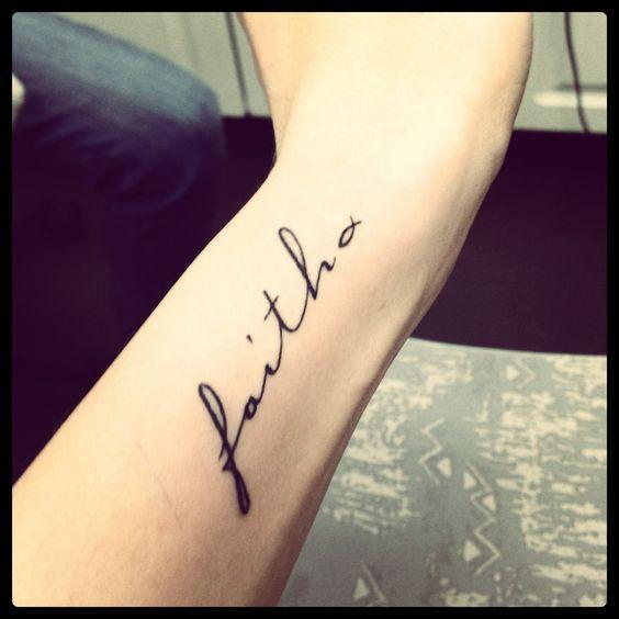 Faith Written In Cursive Tattoo Tattoos On Wrist Girls