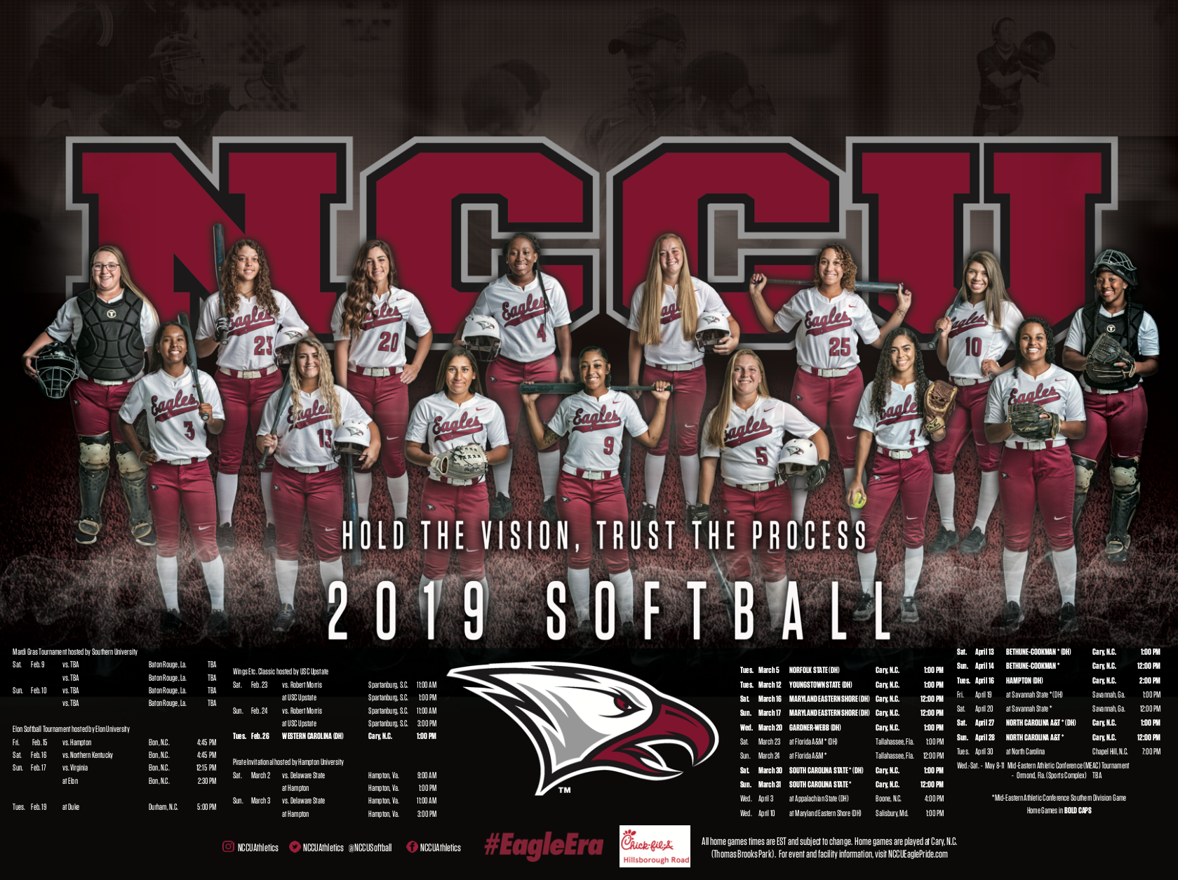 North Carolina Central Softball Schedule Poster Softball Poster Branding