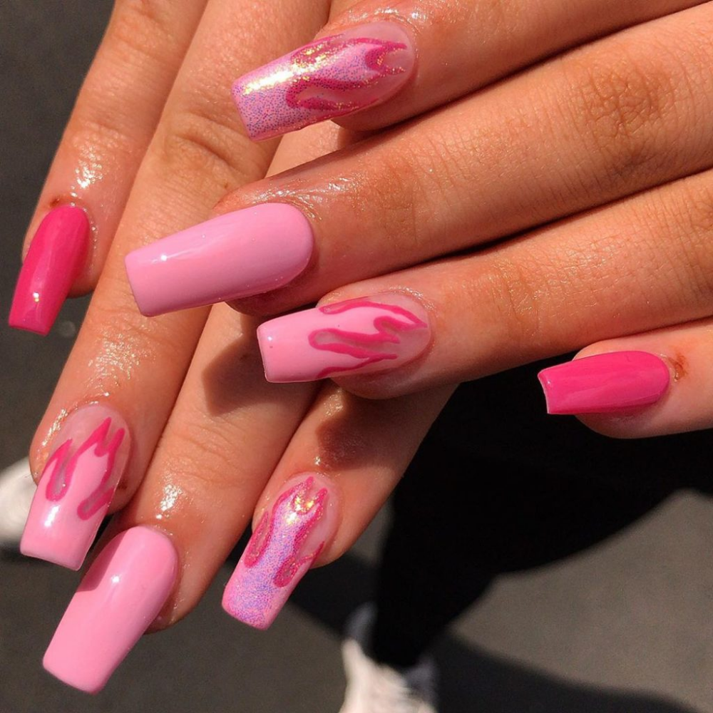 30 Flame Nails Art Designs You Must Have In Summer 2019 Dream Nails Vibrant Nails Pink Acrylic Nails