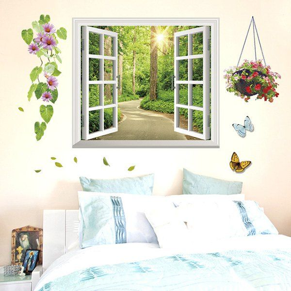 6 02 High Quality Alameda Pattern Removable 3d Wall Sticker For Living Room Window Shades Living Room Living Room Wall Decor Stickers Living Wall Decor