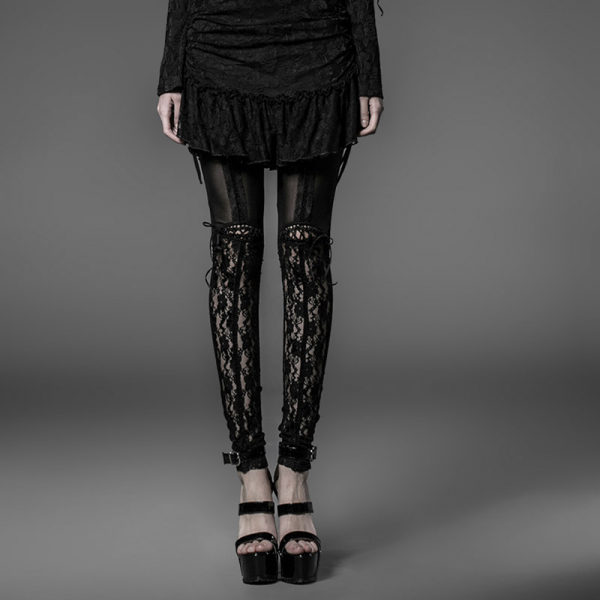 Goth black garter leggings with lace