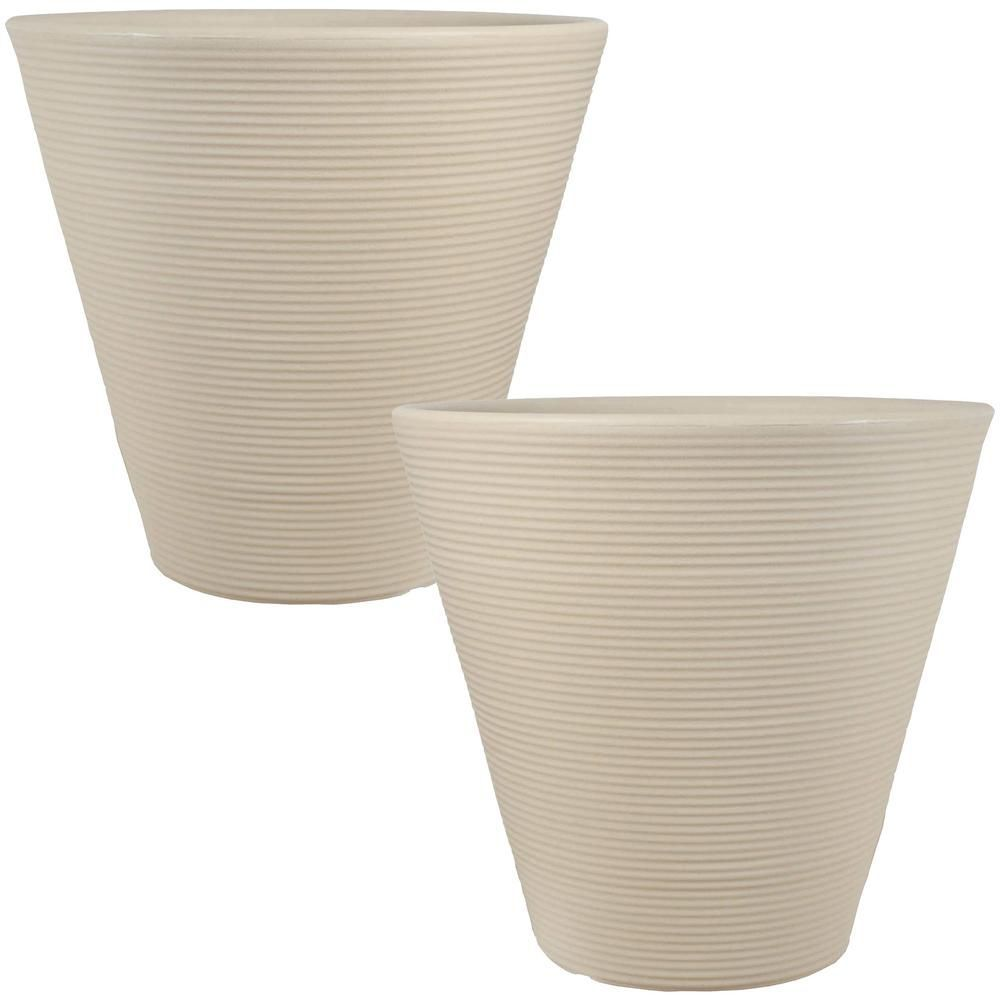Sunnydaze Decor 16 In Beige Walter Outdoor Poly Flower Pot