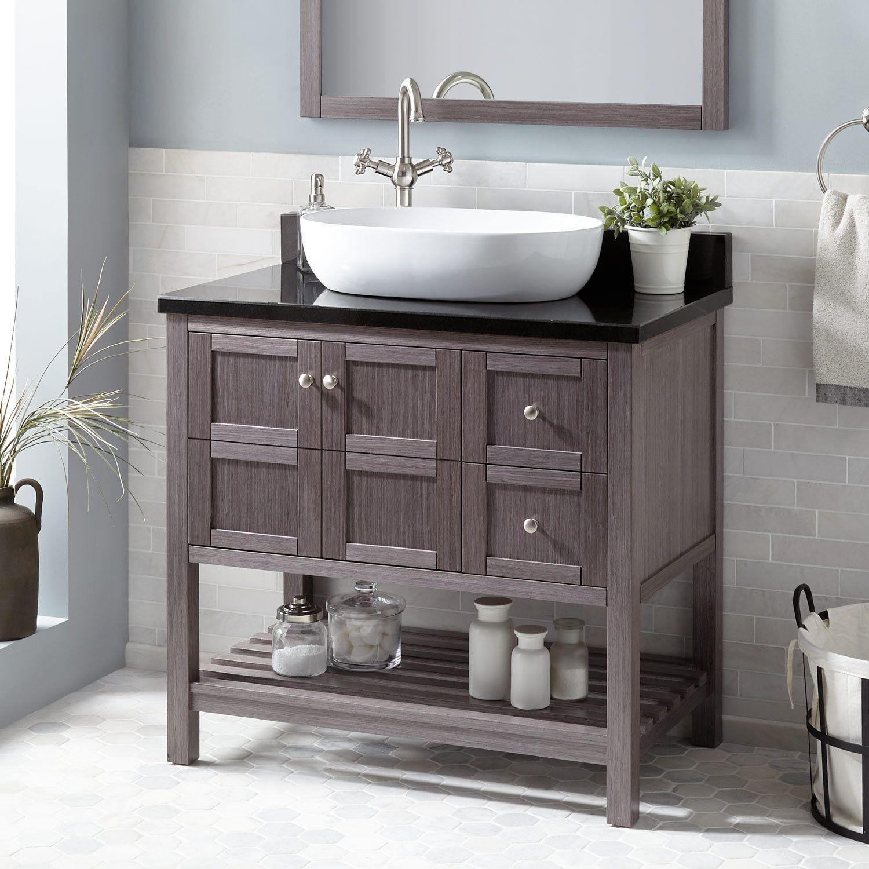 36 Everett Vessel Sink Console Vanity Ash Gray Bathroom