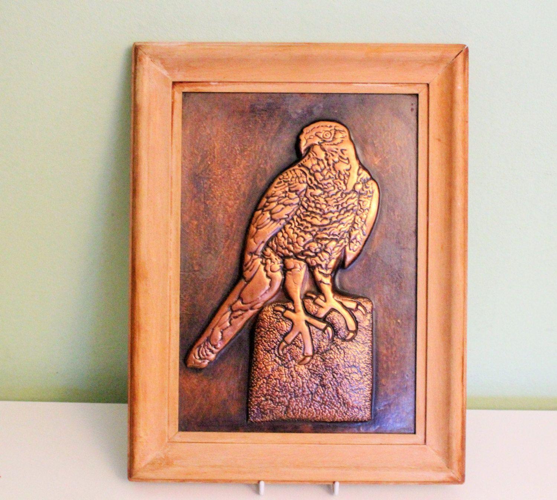 Framed Metal Wall Art vintage framed 3d hammered copper picture eagle metal wall art