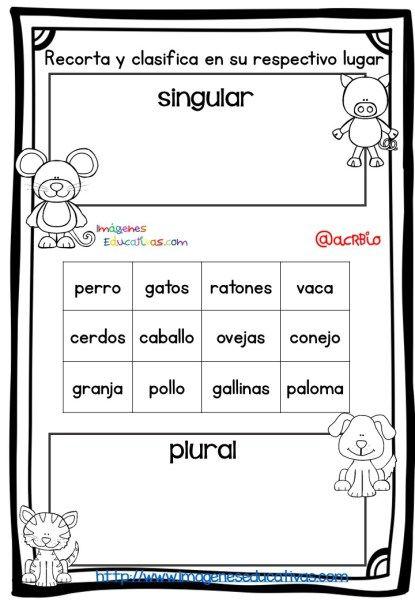 Fichas de repaso singular plural masculino y femenino 2 - Proyecto singular ...