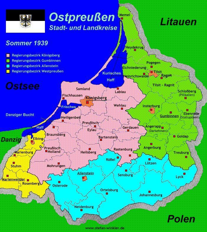 Stadt- und Landkreise in Ostpreußen, 1939 | OSTPREUSSEN | Pinterest ...