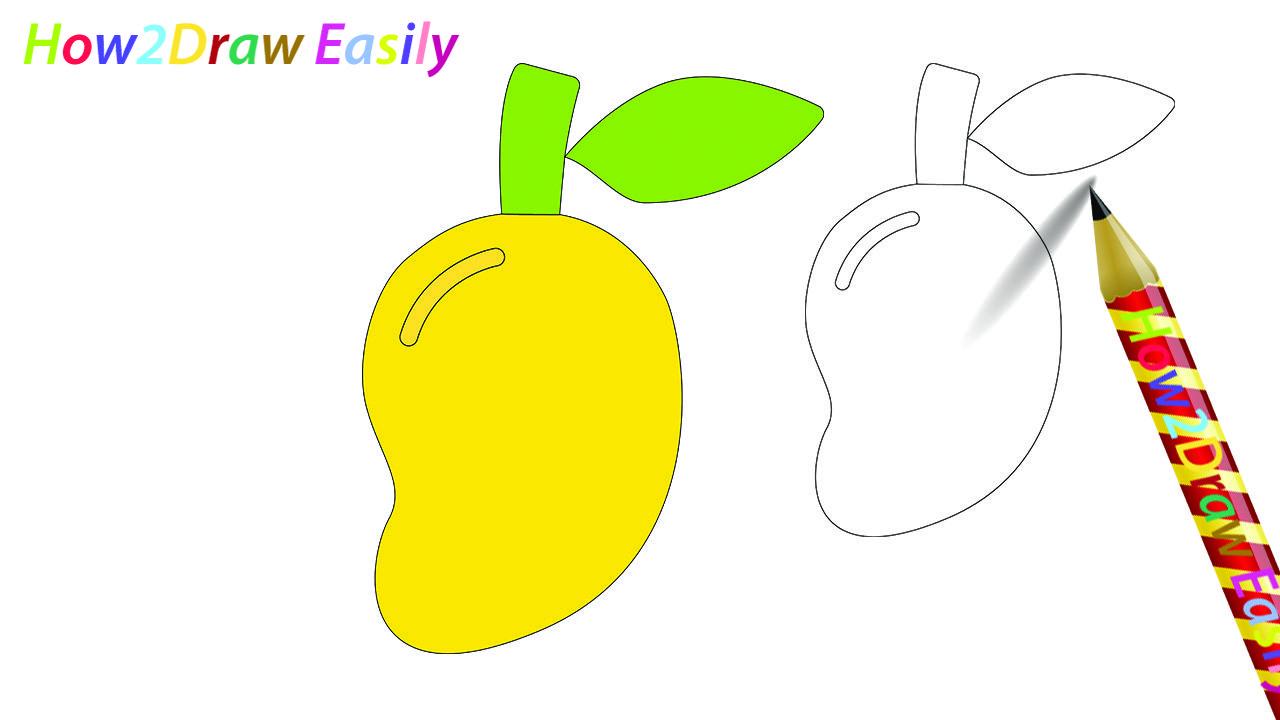 Mango Drawing Coloring Drawings Mango Drawinglessons Fruits Easy Drawings Easy Drawings For Kids Easy Drawing Steps