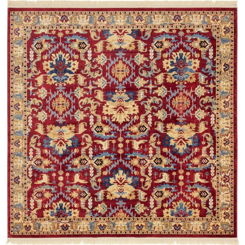 Unique Loom District Diplomat Red 8 Ft X 8 Ft Square Rug 3143812 The Home Depot Purple Area Rugs Square Rugs Square Area Rugs 8 ft square rugs