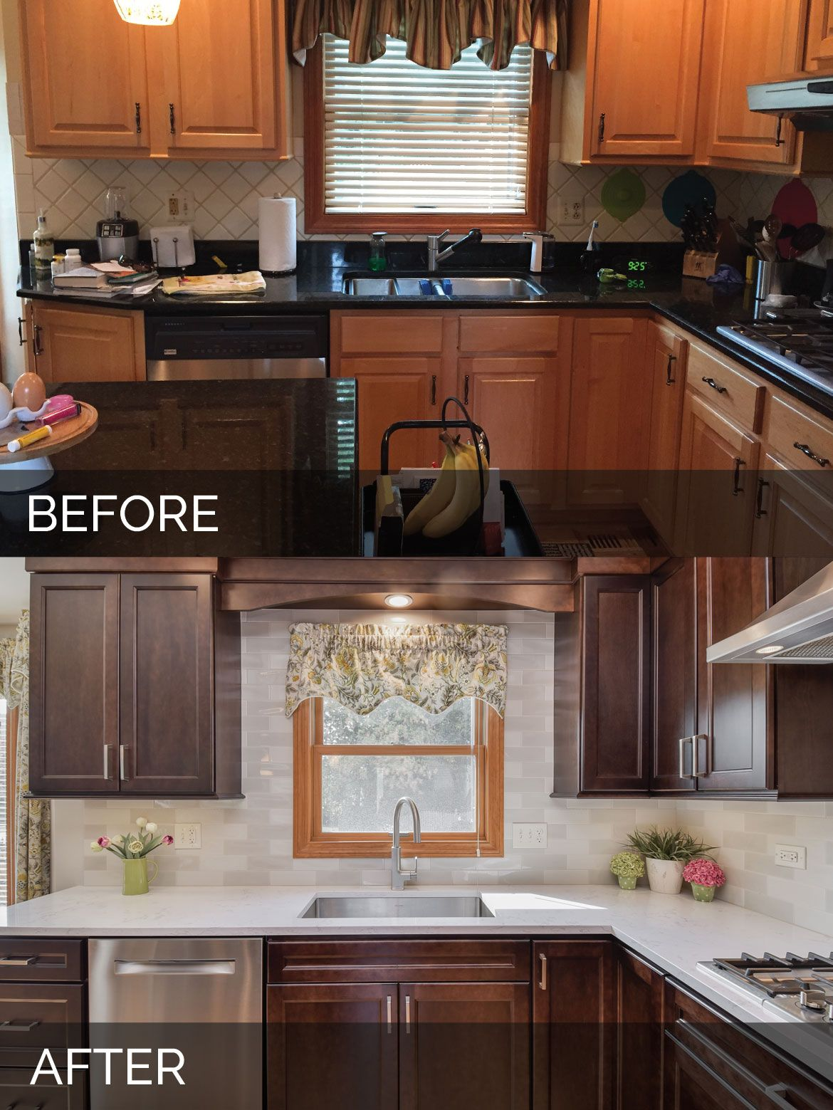 Sue Russell S Kitchen Before After Pictures Kitchen Remodel Layout Stained Kitchen Cabinets Kitchen Remodel Checklist