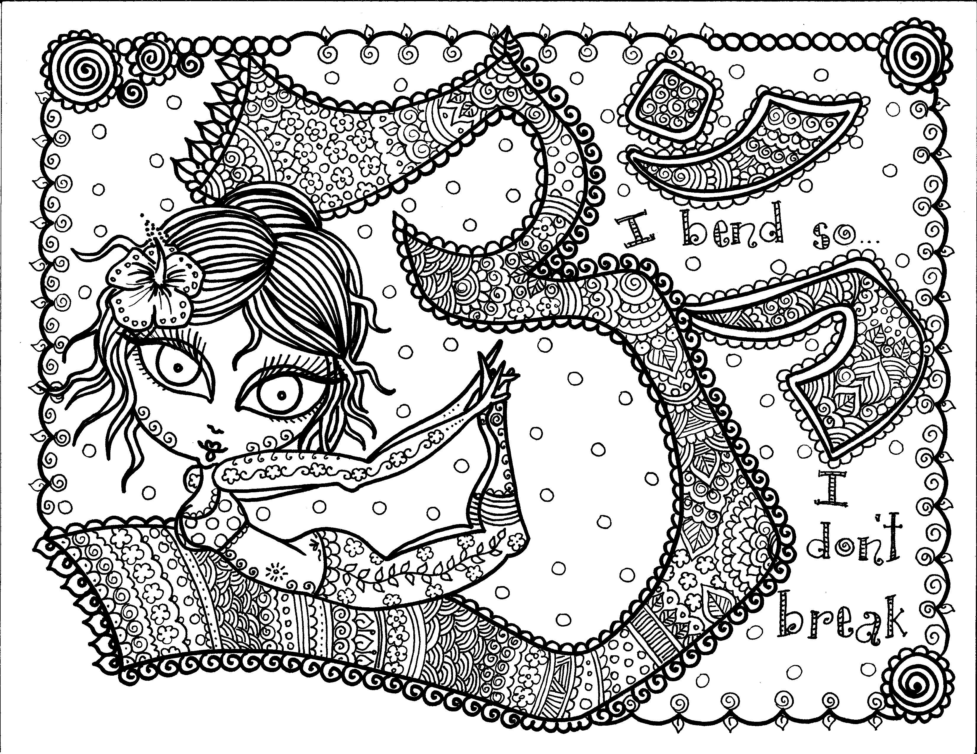 Yoga coloring page chubby mermaid on wild for Yoga coloring pages