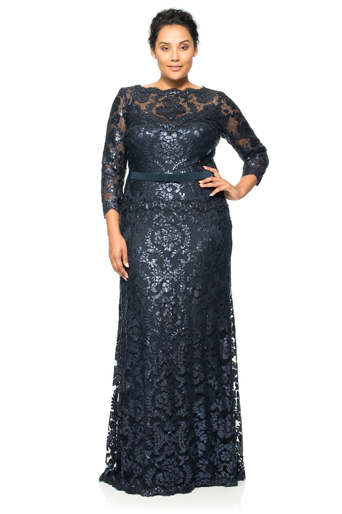 Lace ¾ Sleeve V-Neck Gown with Grosgrain Ribbon Belt - PLUS SIZE ...