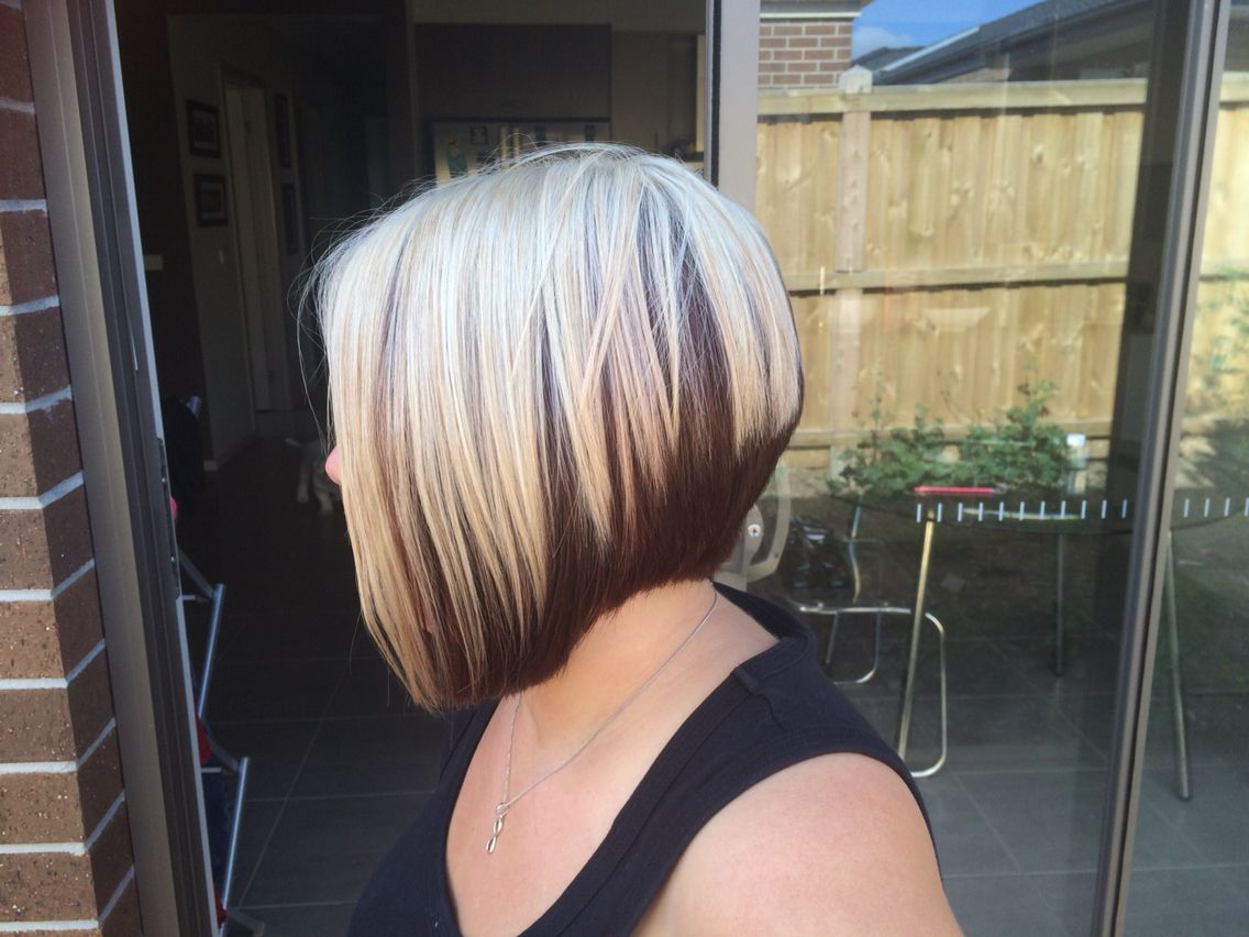my new hair. two tone graduated bob. mahogany and platinum