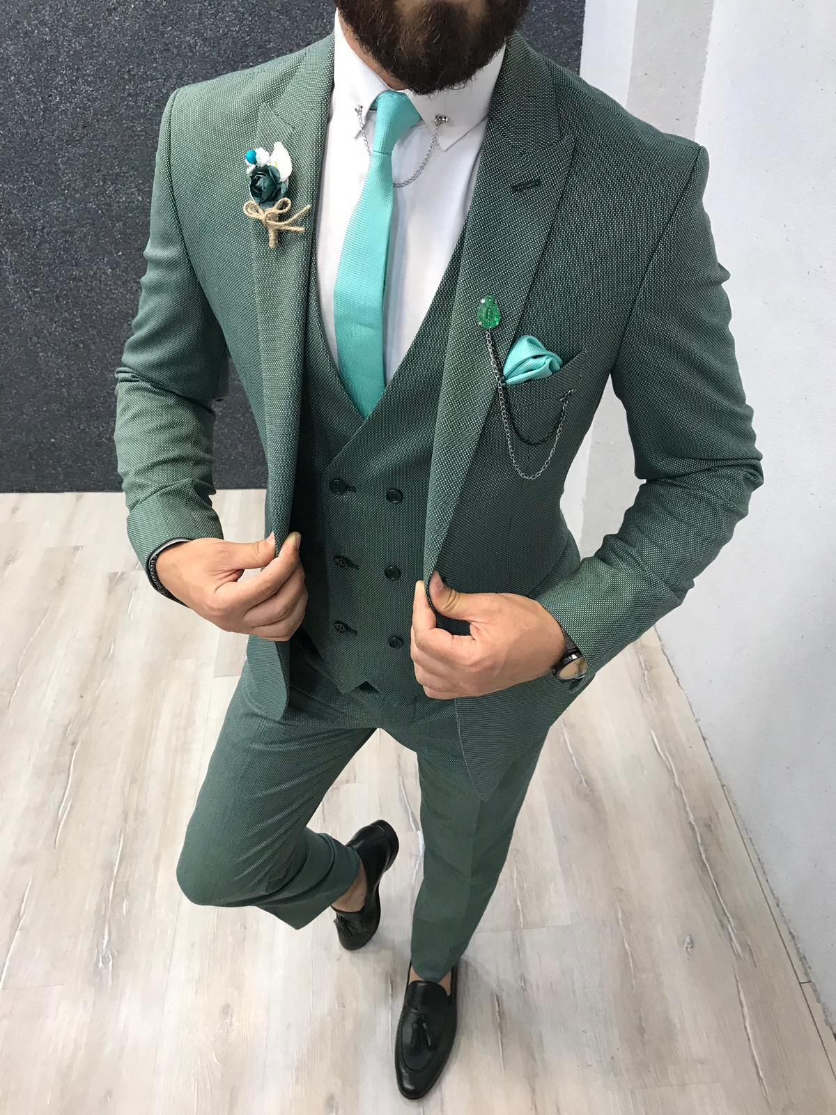 Buy green slim fit wool suit by with in 2020