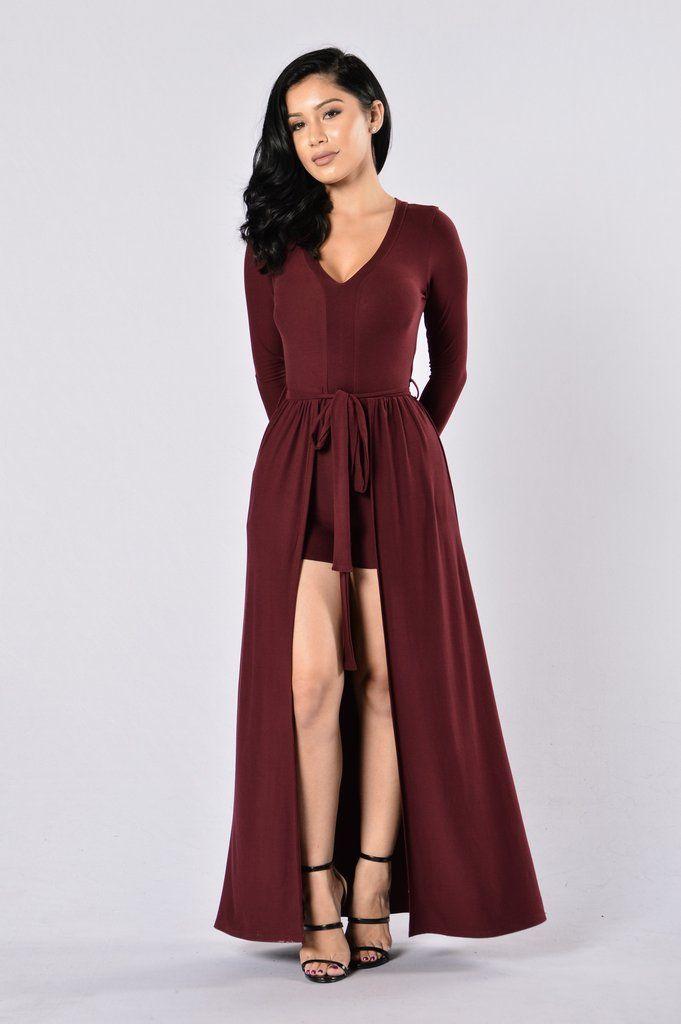 5364146840cc Available in Burgundy - Deep V - Long Sleeve - Maxi Skirt Overlay - Tie  Waist - Made in USA - 96% Polyester