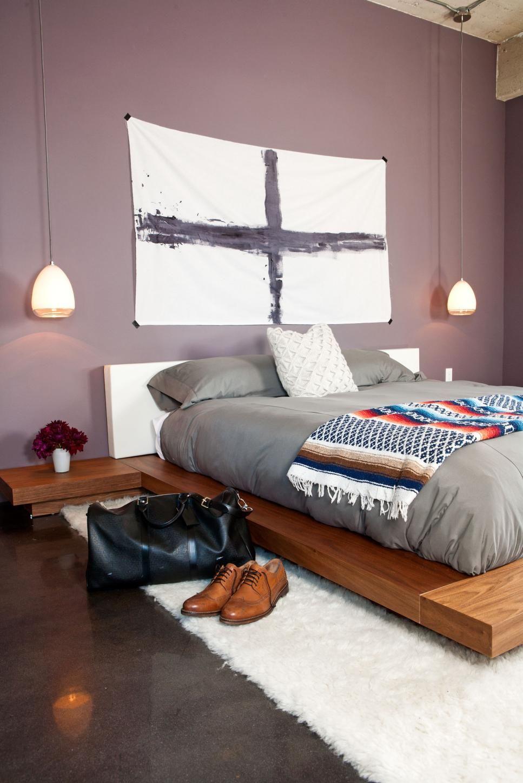 Purple Modern Master Bedroom With Masculine Vibe Modern Minimalist Bedroom Minimalist Bedroom Design Modern Bedroom Design