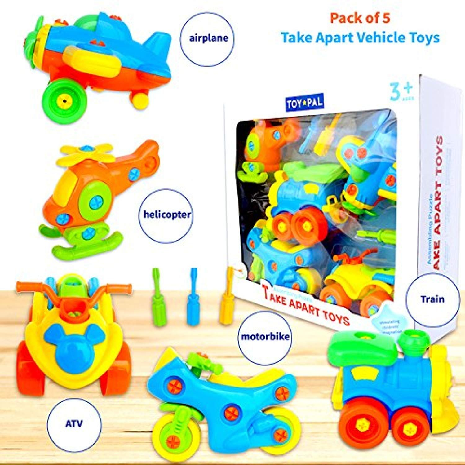 Take Apart Toys (pack of 5), STEM Learning Vehicles Play ...
