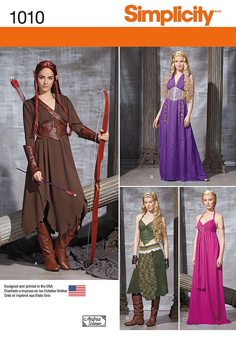 Simplicity 1010-Elf Costume Lord of the Rings Size 6,8,10,12,14