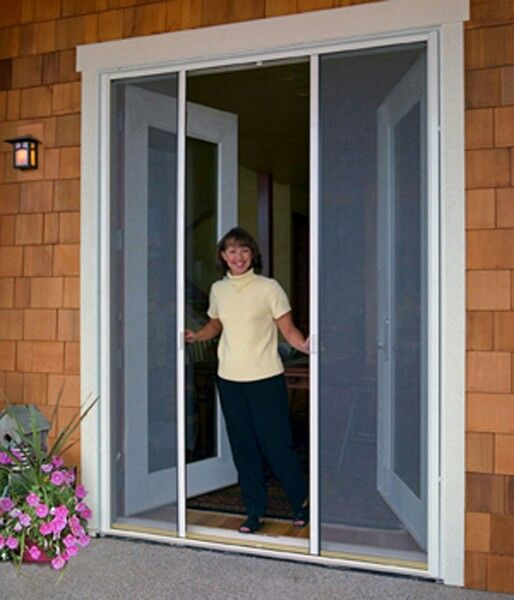 Retractable screen doors for french patio doors porch for Retractable double screen door