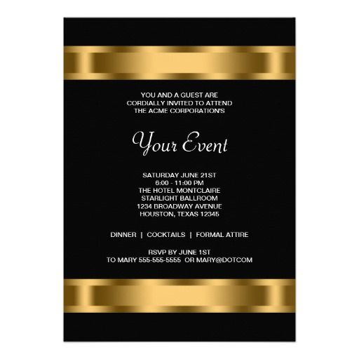 Black Gold Black Corporate Party Event Template Personalized Invite - Business invitation template