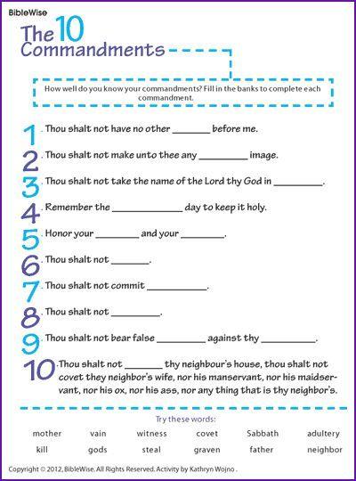 Worksheet 10 Commandments Worksheets fill in the blanks ten commandments kids korner biblewise biblewise