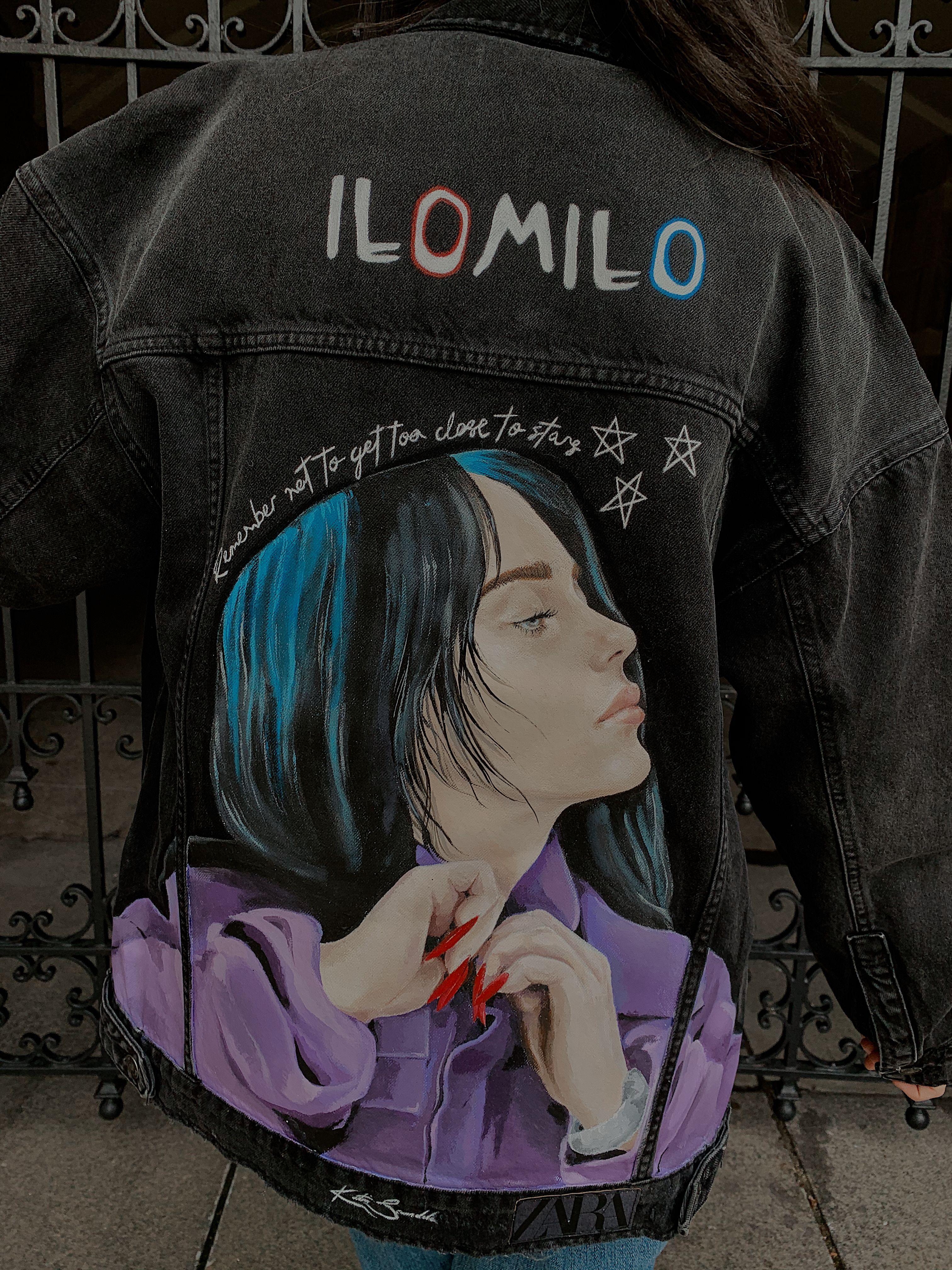 Custom Billie Eilish Ilomilo Denim Jacket Custom Denim Jackets T Shirt Painting Jackets [ 4032 x 3024 Pixel ]
