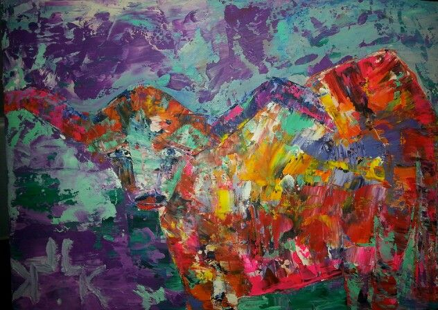Longhorn Oil On Guesso Board 7x5 $150. Major Credit Cards Accepted