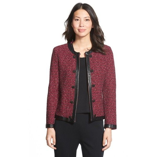 Ming Wang Faux Leather Trim Tweed Knit Jacket ($298) ❤ liked on Polyvore featuring outerwear, jackets, knit jacket, collarless tweed jacket, long sleeve jacket, shiny jacket and ming wang