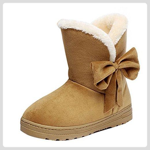 cf0cc52a1ccaba Minetom Frau Mädchen Damen Schlupfstiefel Mit Schleife Winterstiefel Warm  Winter Boots Klassisch Schneestiefel Snow Shoes ( Braun EU 39 ) - Stiefel  für ...