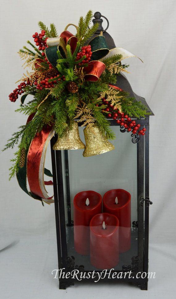 Large Christmas Bells Decorations Large Christmas Lantern Swag With Bellstherustyheart On Etsy