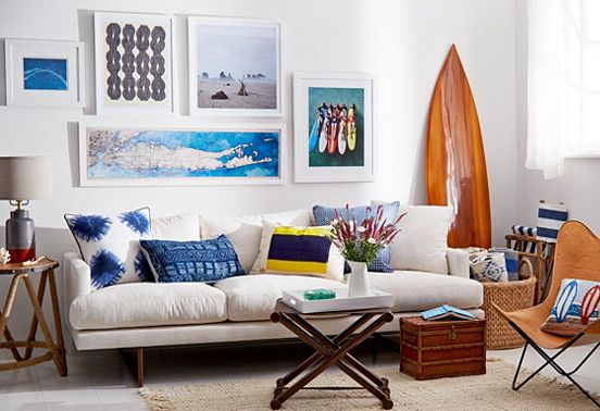 Modern Beach Pad Mid Century Modern Gone Coastal Living Room