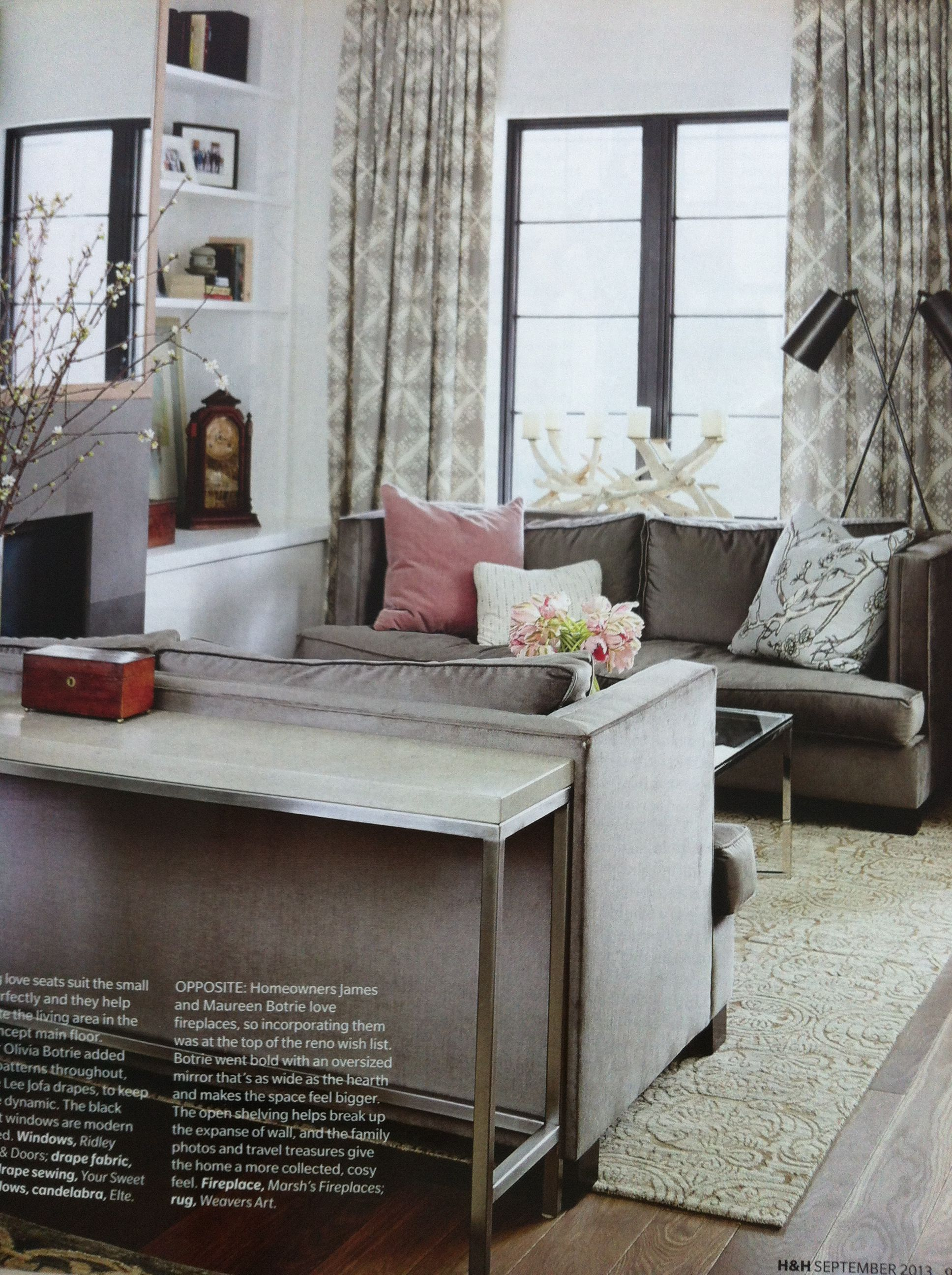 Living room layout- especially like console table and curtains