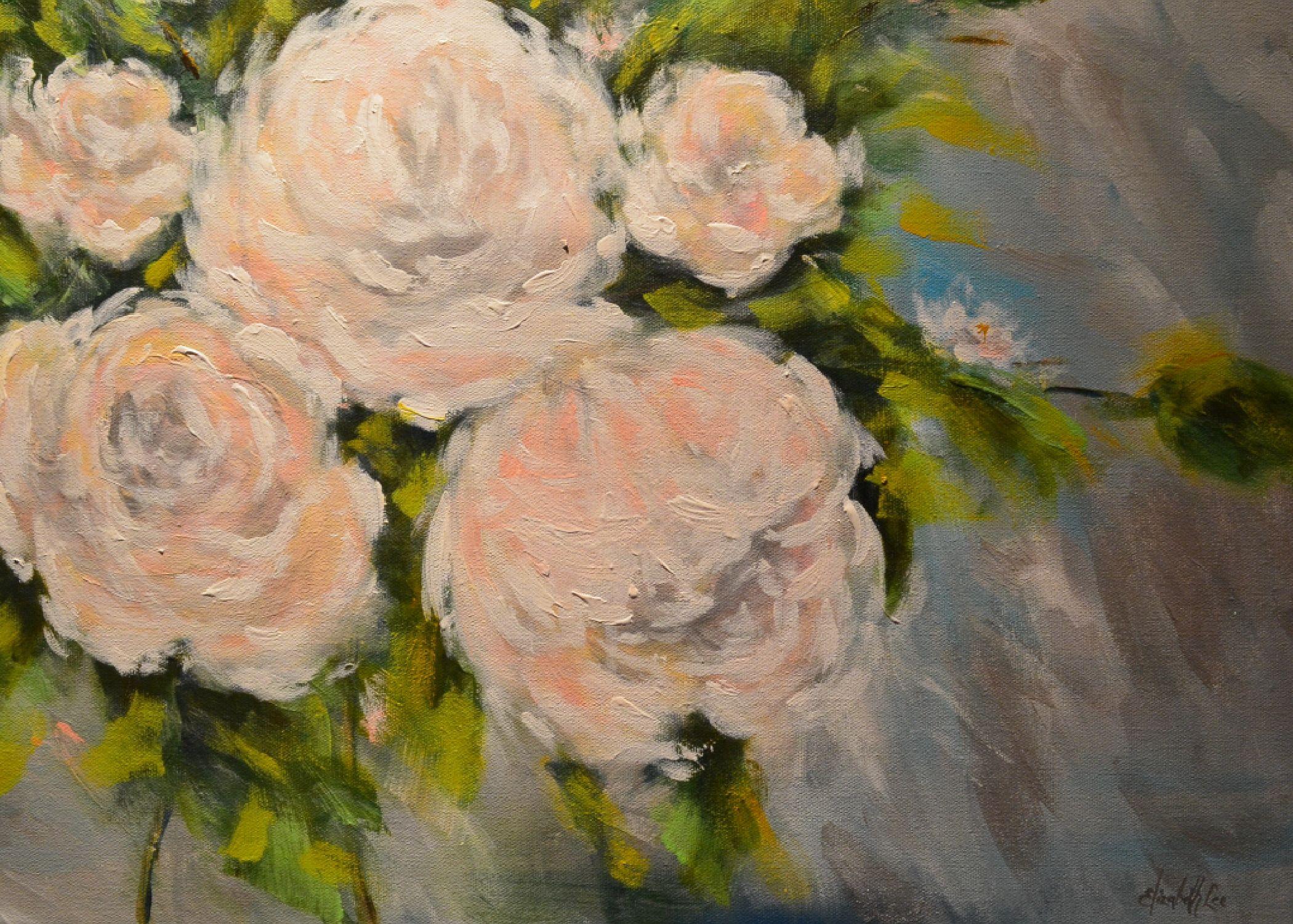 """Roses"" An Original Acrylic Painting by Elizabeth Lee of Richmond, Virginia."