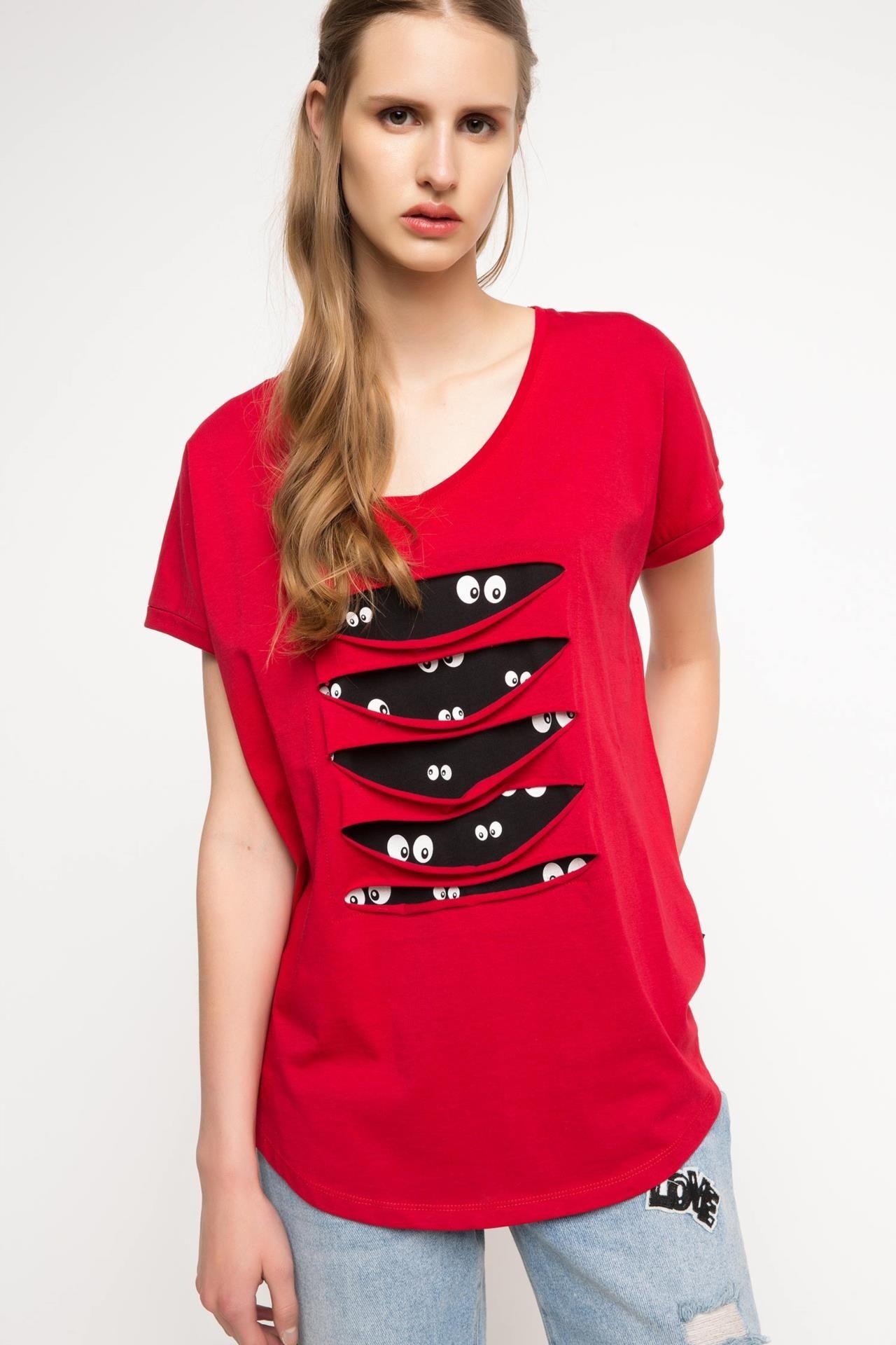 Kirmizi Kadin L L Baskili T Shirt 764676 Defacto Elbise Yeniden Tasarimlari Kendin Yap Tisortler Geri Donusum Kiyafetler