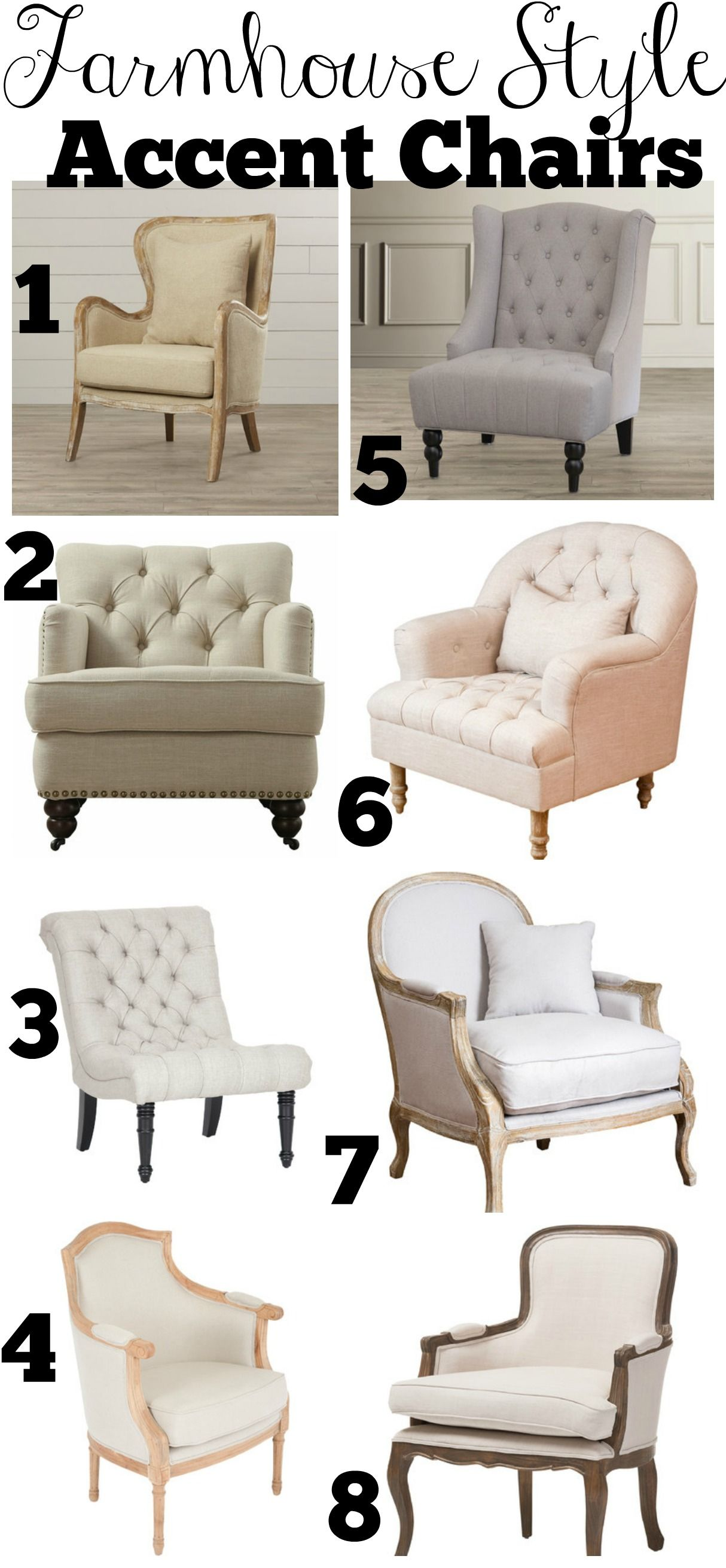 Farmhouse Style Accent Chairs  Farmhouse style chairs, Farm house