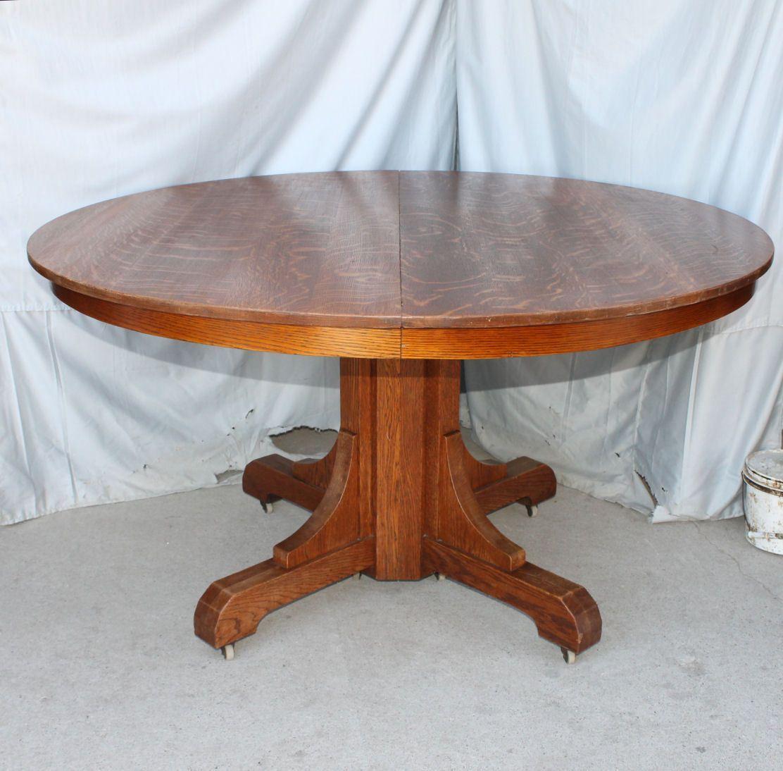 Mission Oak Dining Room Round Table Gustav Stickley In Original