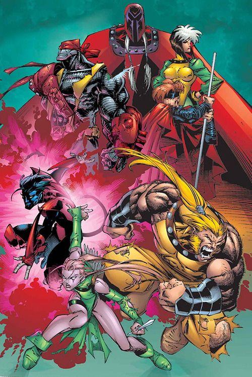 Magneto, Rogue, Gambit, Sabretooth, Blink, Nightcrawler, and Colossus - X-Men: Age of Apocalypse  by Adam Kubert