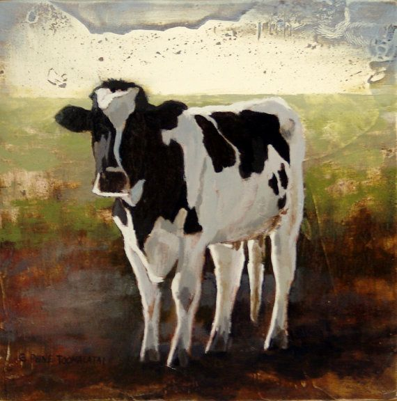 Cow 8 5 X 11 Print Of An Original Oil Painting Black And