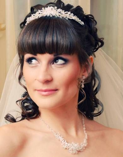 Bridal Hairstyles With Bangs For Long Hiar Witveil Half Up 2013 For Short Hair Indian Half Up Half Down Bridal Hair Bridal Hair With Fringe Hairdo Wedding