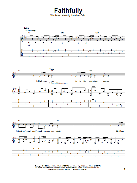 Download Journey Faithfully Sheet Music Notes And Chords For Guitar