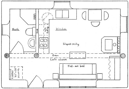 Wilderness cabin plan well planned 283 sq ft extra room for Fort wilderness cabins floor plan