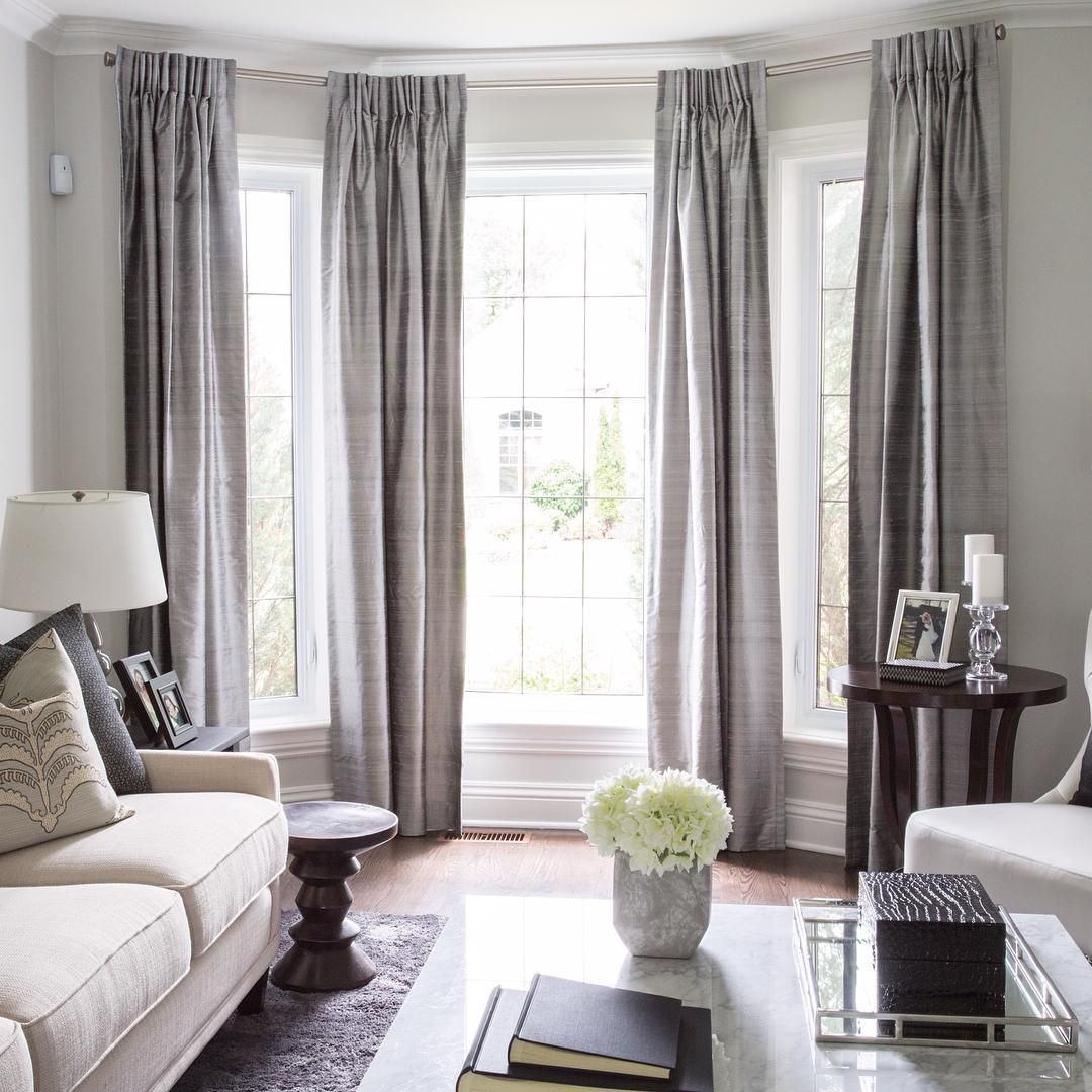 Lovely bay window treatment off center window can still - Living room bay window treatments ...