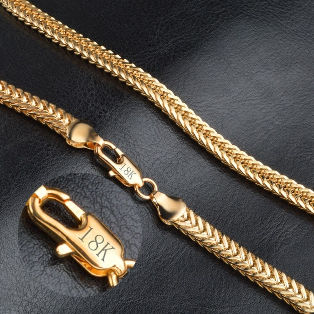 18k Gold Exquisite Smooth Necklace Chain Chains For Men Gold Chains For Men Gold Snake Chain