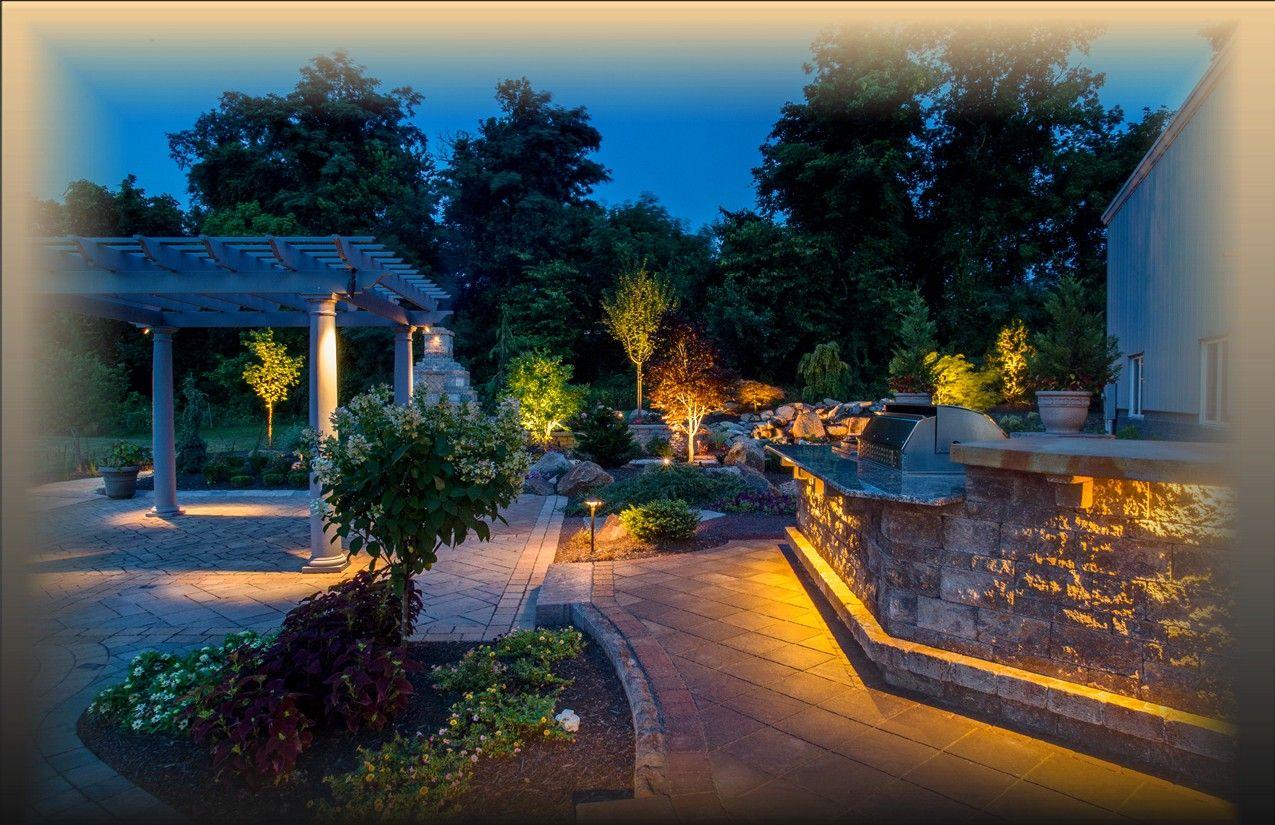 Our Display Gardens At Night Low Voltage Lighting Outdoor Kitchen Pergola Patios Walkways Plant Outdoor Living Patios Landscape Lighting Pergola Lighting