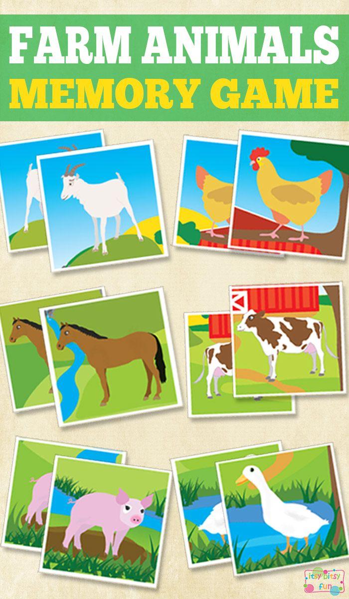 Printable Farm Animals Memory Game Farm Animals Preschool