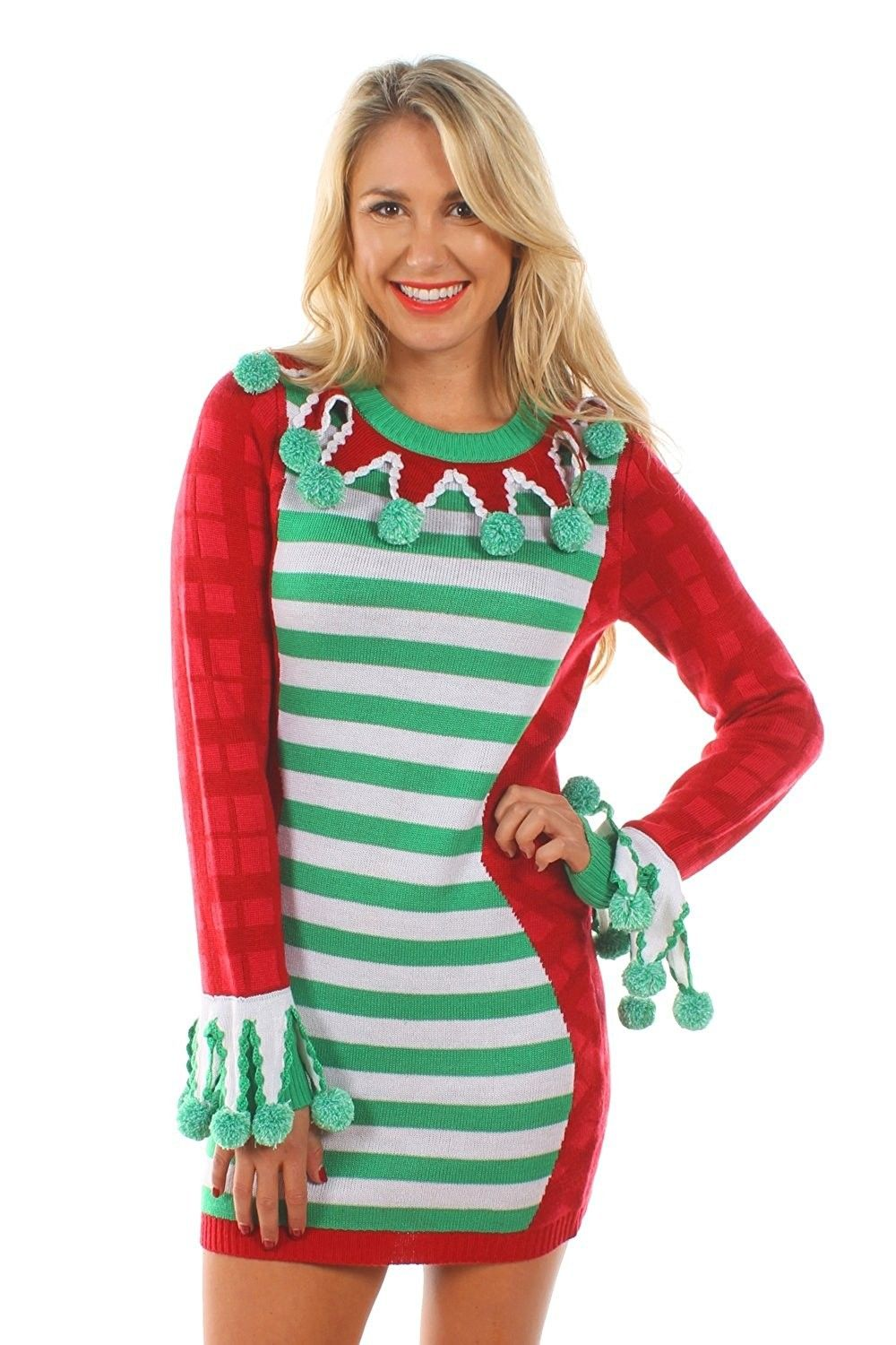 045a96d927c Women s Green and Red Tacky Christmas Sweater Dress - CC12JT71E97 ...