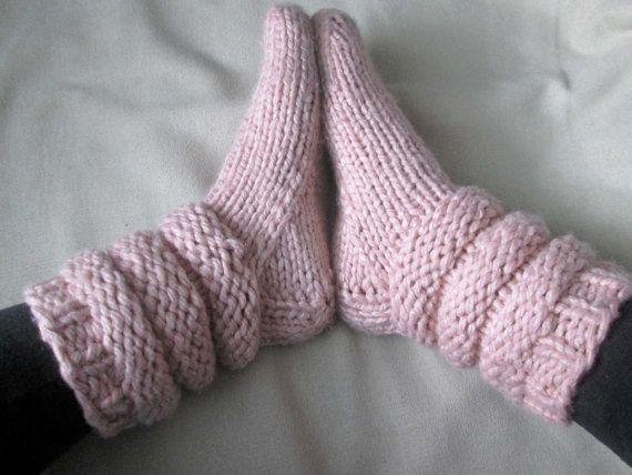 Slipper Socks Knitting Pattern Pattern For Chunky Knit Slipper